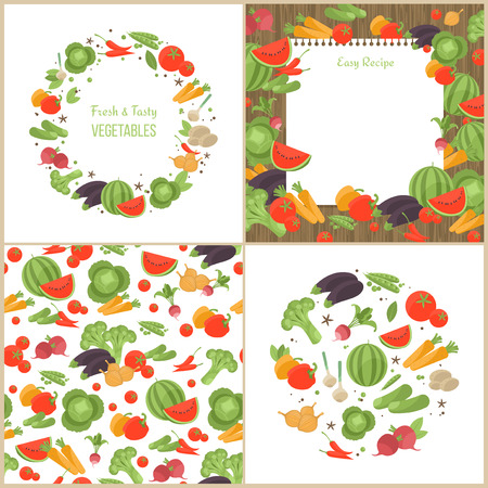 cooking book: Vegetarian abstract set of pattern, recipe page and round compositions with vegetables.