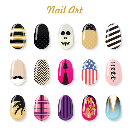 Nails art vector templates and polish bottle for manicure salon services