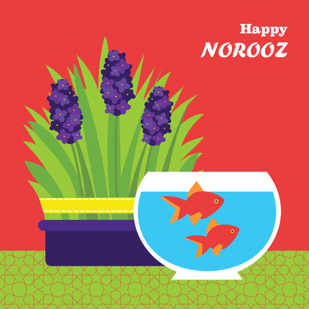 iranian: Happy Persian New Year card template. Illustration with fish, grass