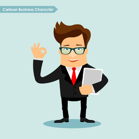 touch sensitive: Business man cartoon character illustration