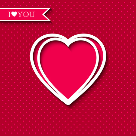 happy couple white background: Red paper heart Valentines day card on pink background