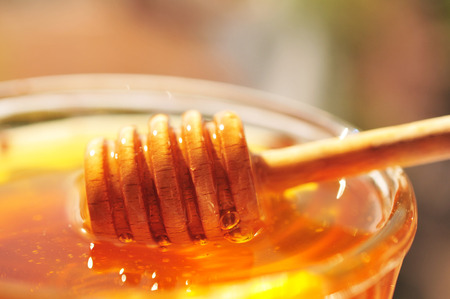 Honey macro with wooden honey dipper and glass jar