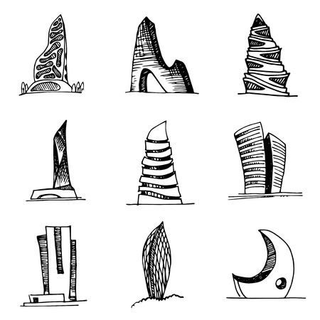 Urban architecture vector set. City skyscrapers hand drawn abstract collection.