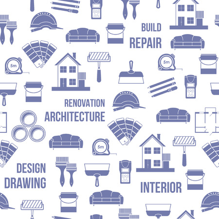 area: Architecture, Interior design and repairs vector seamless pattern.