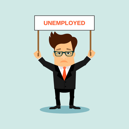 unemployed: Unemployed business men holding boardr with sign.Vector cartoon illustration Illustration