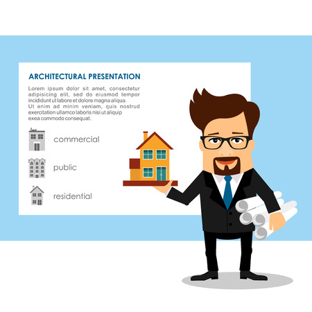 businessperson: Cartoon Business Character architecture developer vector illustration Illustration