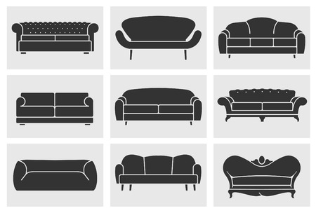 sofa: Vintage armchair icons set. Loft furniture concept Illustration