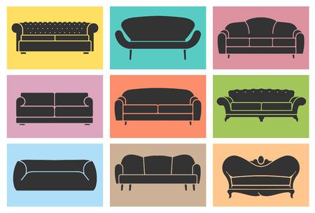 loft: Vintage armchair icons set. Loft furniture concept Illustration