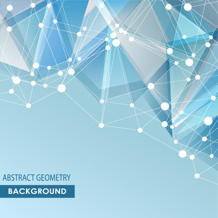 Polygonal background with abstract molecular connection.
