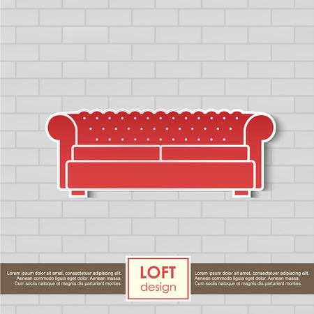 vintage furniture: Vintage armchair icon furniture concept