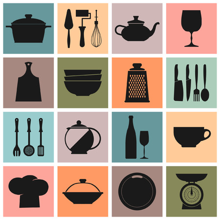 cooking book: ector Vintage kitchen dishes icons set