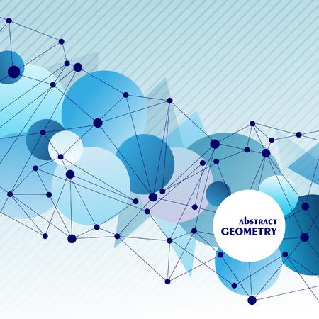 Veelhoekige marineblauwe achtergrond met abstracte moleculaire verbinding