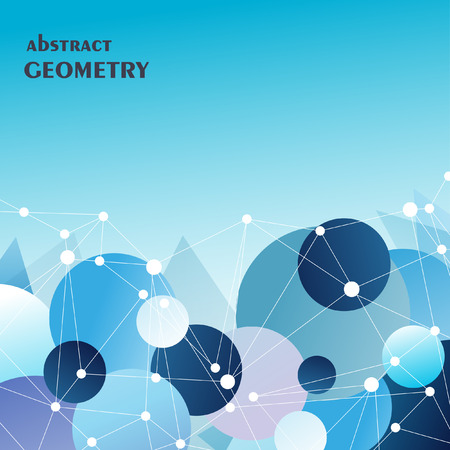 navy blue background: Polygonal navy blue background with abstract molecular connection Illustration