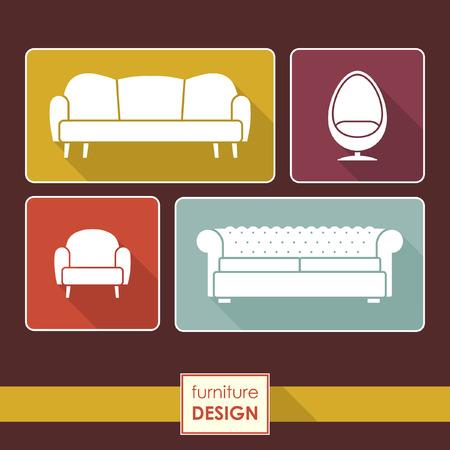 sofa set: Vector Vintage armchair and sofa icons set. Loft furniture concept Illustration