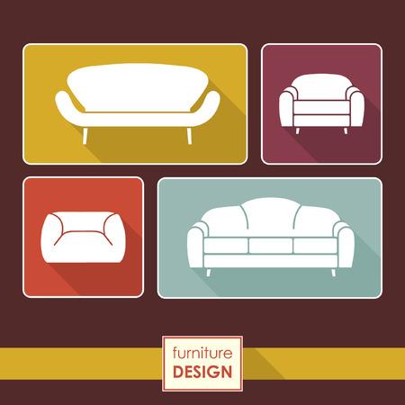 loft: Vintage armchair and sofa icons set. Loft furniture concept Illustration