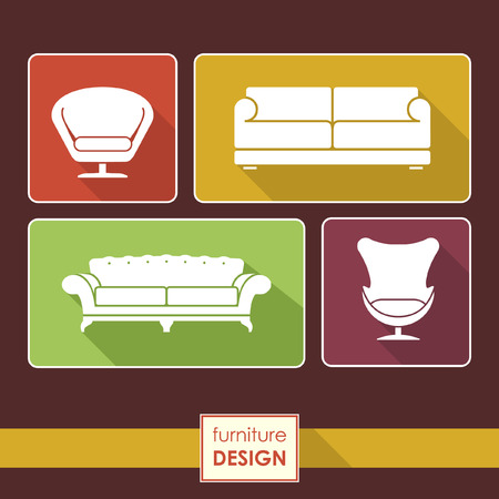 armchair: Vintage armchair and sofa icons set. Loft furniture concept Illustration
