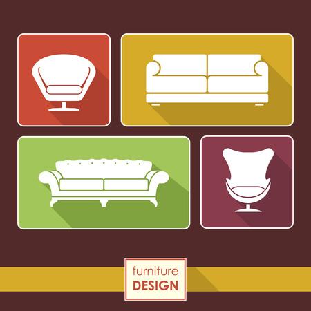 Vintage armchair and sofa icons set. Loft furniture concept Çizim