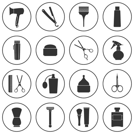 comb hair: Barber Shop monochrome icons set