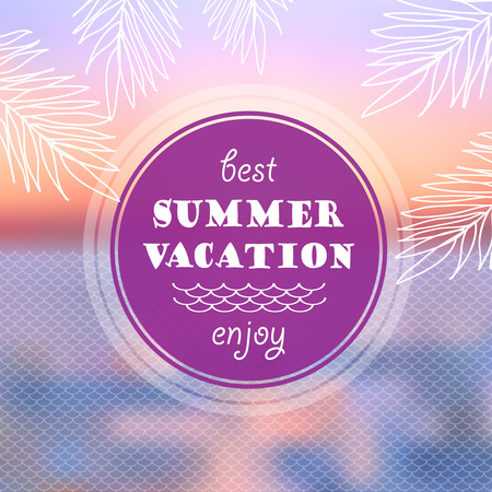 beach sunset: Vector Summer vacation abstract background. Sunset on the sea beach illustration