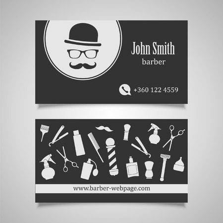old fashioned: Hair salon barber shop Business Card design template