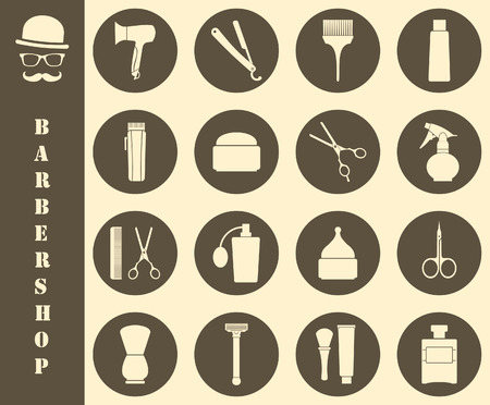 groomed: Barber shop vintage symbols in set Illustration