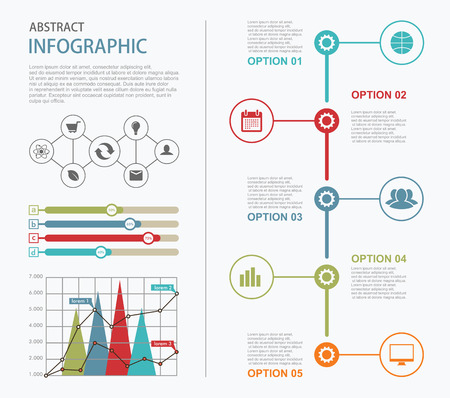 Info graphic and timeline design elements. Presentation abstract vector page Illustration