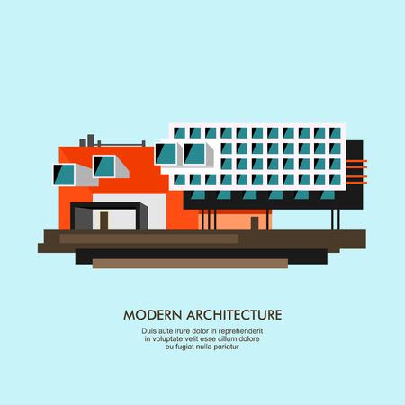 facade: Modern flat architecture facade illustration