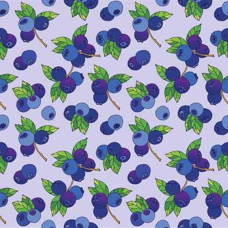 raspberry: Blueberry seamless pattern Illustration