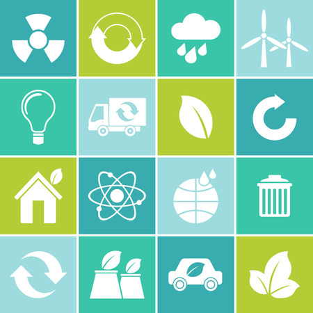 bio fuel: Ecology flat material design concept with ecology, environment, green energy and pollution icons set Illustration
