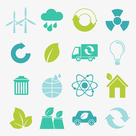 trees services: Ecology flat material design concept with ecology, environment, green energy and pollution icons set Illustration