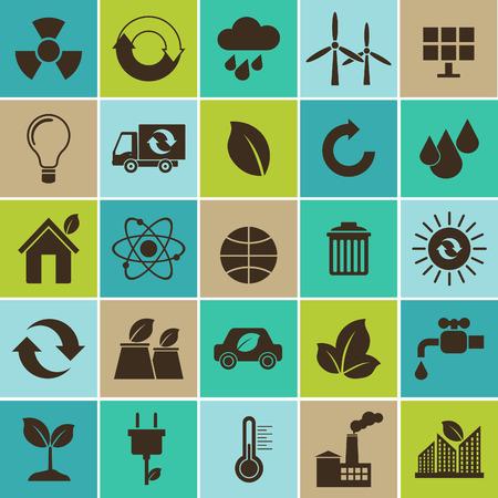 ecosistema: Ecología material plano concepto de diseño con la ecología, el medio ambiente, la energía verde y los iconos de contaminación establecido