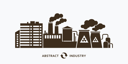 silhouette industrial factory: Industrial factory buildings silhouette background