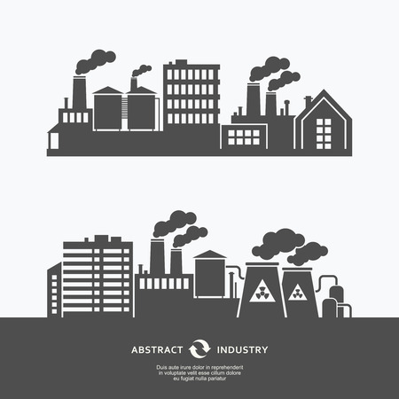Industrial factory buildings silhouette background