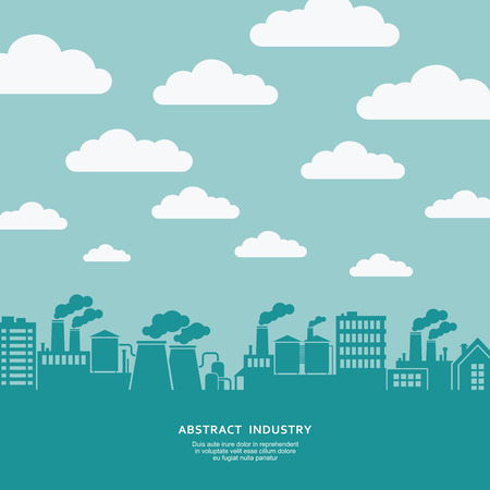 silhouette industrial factory: Industrial factory buildings silhouette vector background Illustration