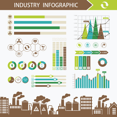 graphic elements: Industry energy infographics concept. Ecology and pollution abstract infographics illustration