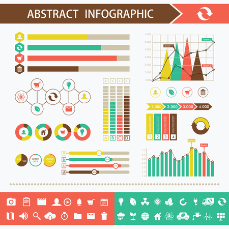 graphic elements: Info graphic and timeline design elements. Presentation abstract vector page Illustration