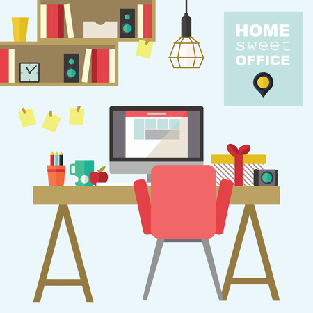 home office interior: Home office flat interior design illustration