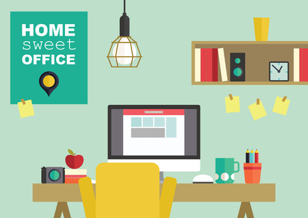 Home office flat interior design vector illustration