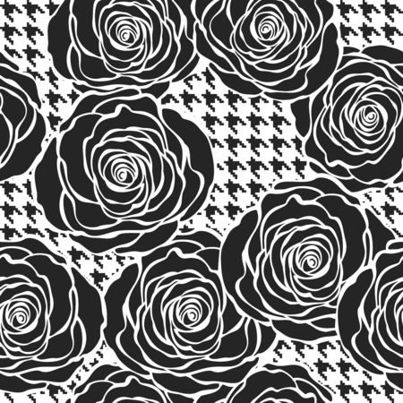 tweed: Floral seamless pattern with roses on tweed texture background