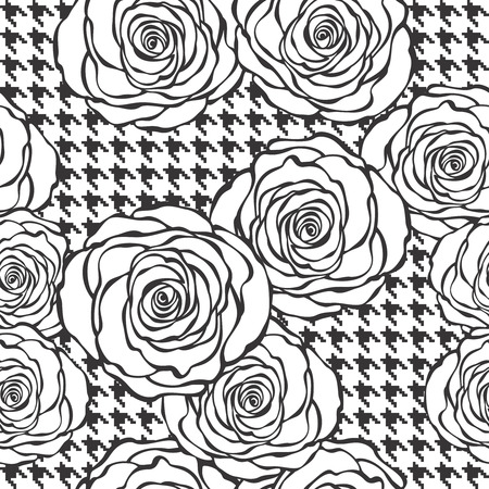 Floral seamless pattern with roses on tweed texture background