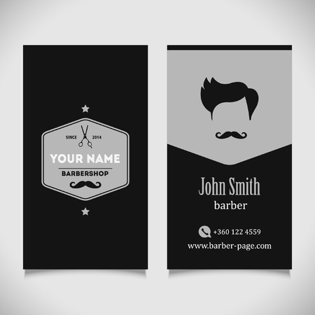 barber: Hair salon barber shop Business Card design template