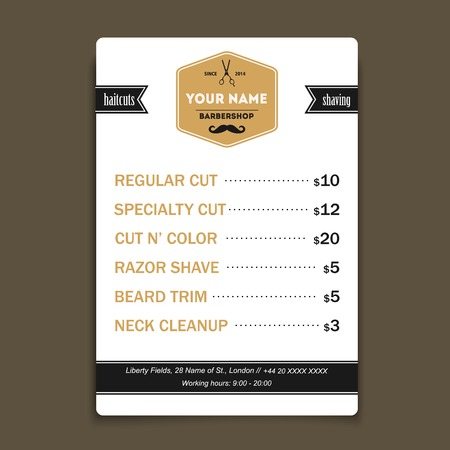 barbero: Barbería oferta vendimia plantilla de lista Vectores