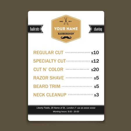 barber salon: Barber shop vintage offer list template Illustration