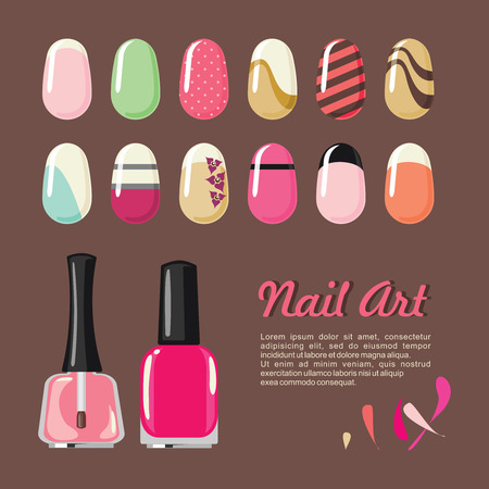 nail salon: Nails art templates and polish bottle for manicure salon services