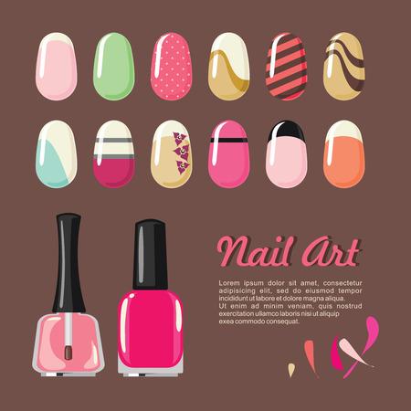Nails modèles d'art et bouteille de vernis pour les services de manucure de salon Banque d'images - 48088111