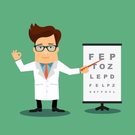 medico caricatura: Amistoso Médico oftalmólogo personaje de dibujos animados plana Vectores
