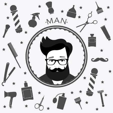gents: Barber shop vintage seamless background with barber39s tools Illustration