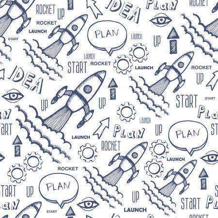 business hand: Start up rocket seamless pattern. Business hand drawn background Illustration