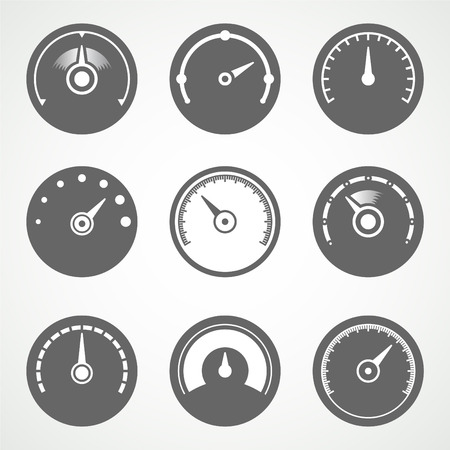mile: Speedometer vector icons set Illustration