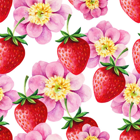 Strawberries and Peony seamless hand drawn vector pattern with blue background